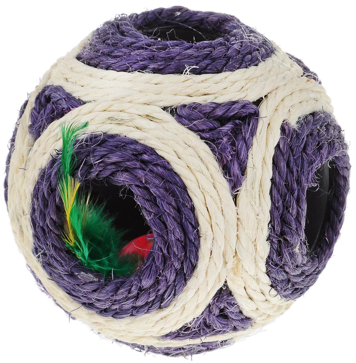 Когтеточка Triol Мяч, цвет: фиолетовый, слоновая кость, диаметр 11,5 смКк-05800/NT-309_фиолетовый, слоновая костьКогтеточка Triol Мяч выполнена из разноцветного сизаля. Внутри когтеточки расположена игрушка в виде шарика-погремушки с перьями, которые привлекут внимание вашего питомца. Всем кошкам необходимо стачивать когти. Когтеточка - один из самых необходимых аксессуаров для кошки. Когтеточка должна висеть на такой высоте, чтобы кошка могла встать на задние лапы и вытянуть наверх передние. Для приучения к когтеточке можно натереть ее сухой валерьянкой или кошачьей мятой. Когтеточка Triol Мяч поможет вашему любимцу стачивать когти и при этом не портить вашу мебель. Диаметр когтеточки: 11,5 см.