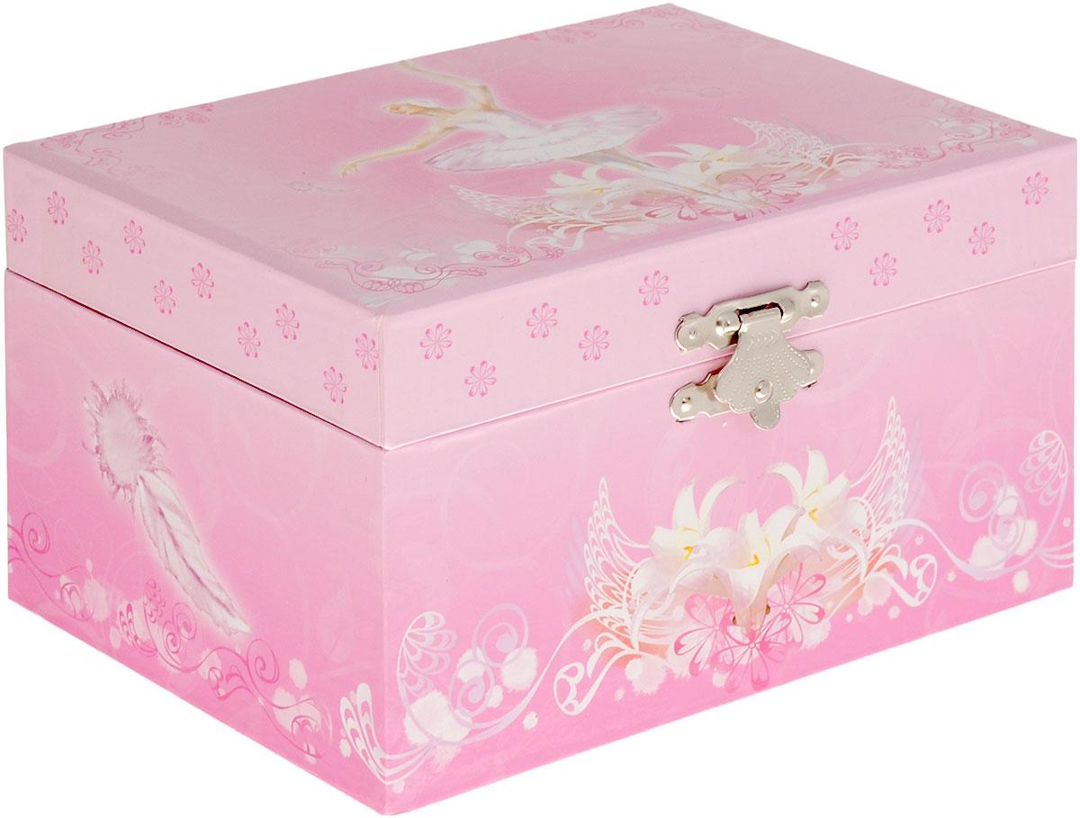 Jakos Музыкальная шкатулка Балерина цвет розовый белый50000_балерина стоитМузыкальная шкатулка Jakos Балерина непременно понравится вашей девочке! Малышка сможет хранить в ней украшения, дорогие ей мелочи и свои секреты. Шкатулка украшена милым рисунком, изображающим очаровательную балерину. Шкатулка оформлена в нежных пастельных тонах и прекрасно впишется в любой интерьер. Внутри шкатулки расположено зеркальце, которое пригодится каждой маленькой моднице, и фигурка балерины на пружинке. Если привести в действие механизм, то фигурка начнет кружиться и зазвучит классическая музыка. Музыкальная шкатулка для украшений станет оригинальным и полезным подарком, и понравится любой девочке.