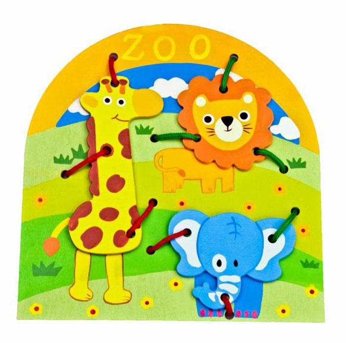 Mapacha Обучающая игра Животные76518Шнуровка - замечательный подарок вашему малышу. Задача игры - прикрепить различные детали к основной фигуре, прошнуровав их и закрепив узелками. Это увлекательное занятие не только развлечет ребенка, но и поможет развить ему очень важные навыки: мелкую моторику рук и координацию движений.