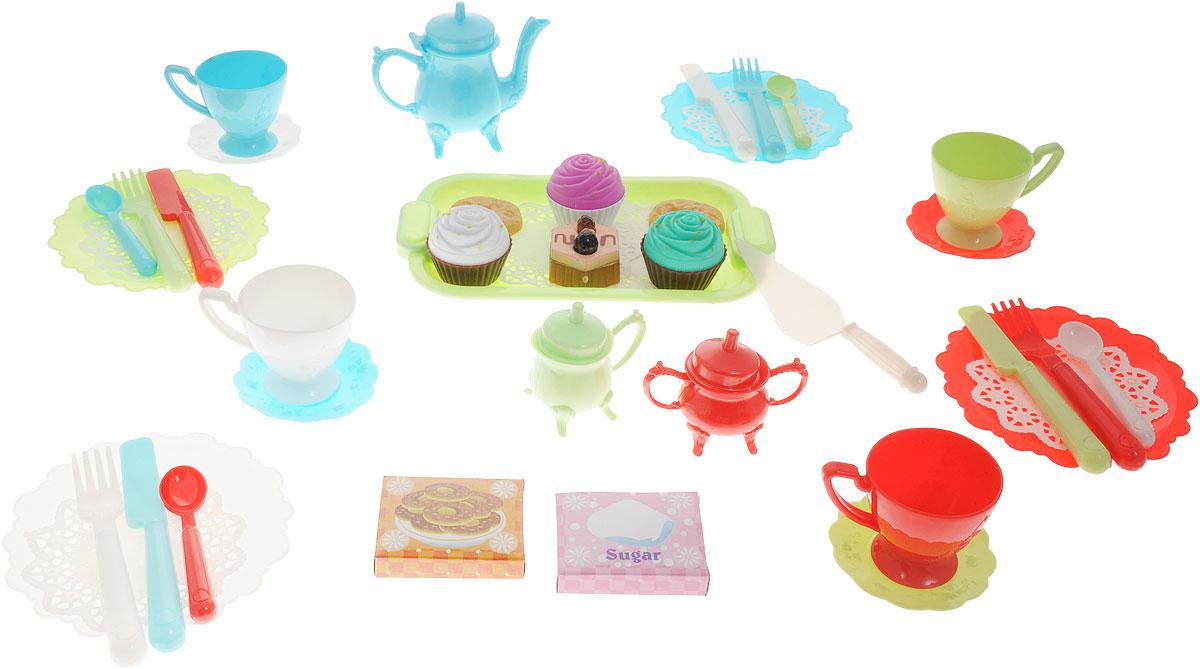 Boley Игрушечный набор Чайная вечеринка74537KMИгрушечный набор Boley Чайная вечеринка - отличный подарок для каждой девочки к любому празднику! С ним девочка сможет устроить уютное чаепитие со своими куклами или подружками. В набор входят комплекты приборов на 4 персоны, заварочный чайник, поднос, муляжи пирожных и печенья, салфетки и другие аксессуары в количестве 45 предметов. Все предметы выполнены из высококачественных, экологически чистых материалов, совершенно безопасных для ребенка. Элементы набора выглядят ярко и очень эффектно. Игра с набором способствуют формированию у девочек социально-коммуникативных навыков и развитию воображения.