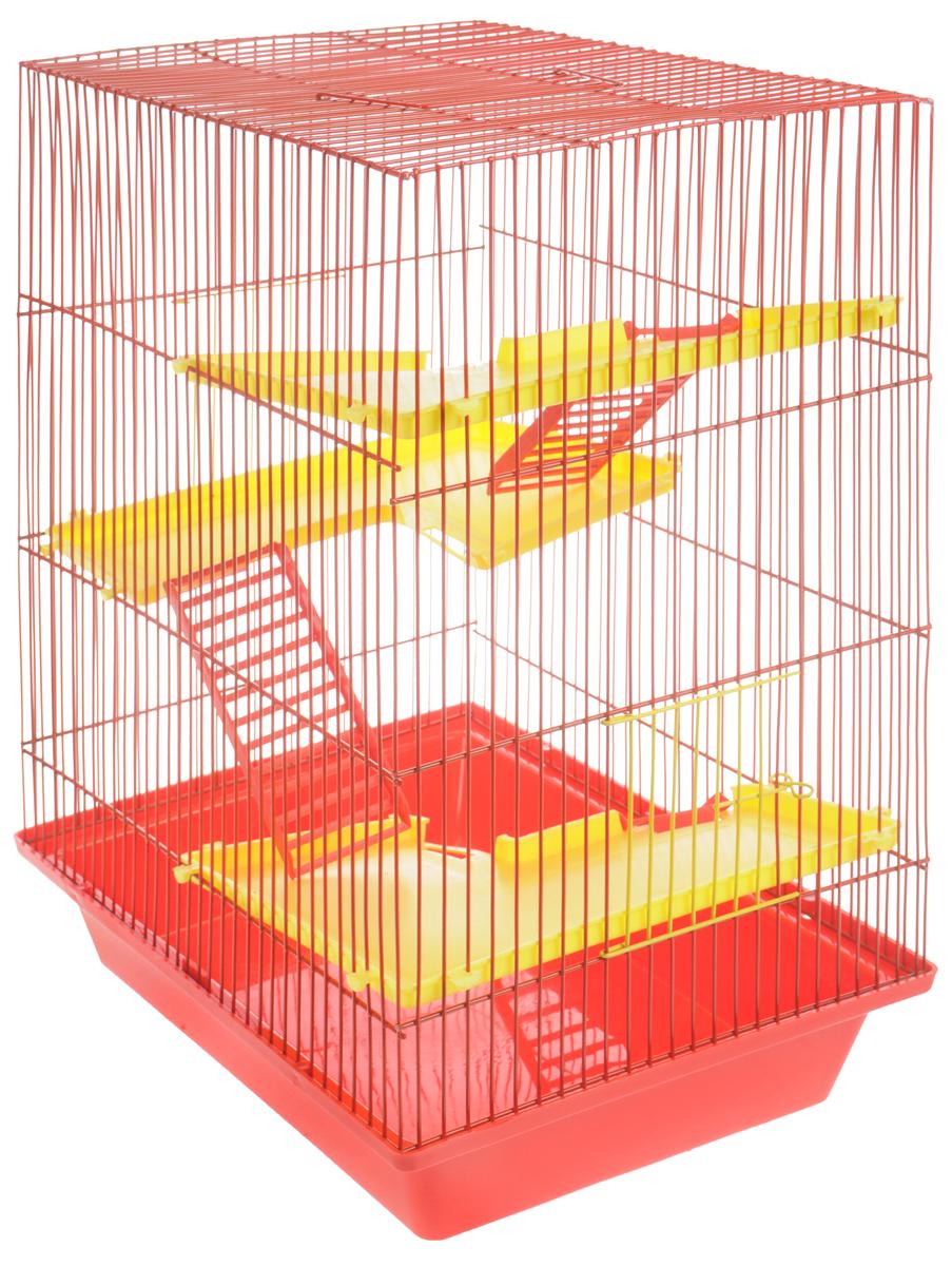 Клетка для грызунов ЗооМарк Гризли, 4-этажная, цвет: красный поддон, красная решетка, желтые этажи, 41 х 30 х 50 см240КККлетка ЗооМарк Гризли, выполненная из полипропилена и металла, подходит для мелких грызунов. Изделие четырехэтажное, оборудовано пластиковыми площадками и лестницами. Клетка имеет яркий поддон, удобна в использовании и легко чистится. Сверху имеется ручка для переноски, а сбоку удобная дверца. Такая клетка станет уединенным личным пространством и уютным домиком для маленького грызуна.