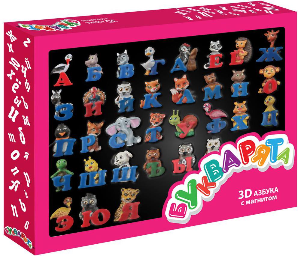 Букварята Обучающая игра 3D азбукаБК-040В состав игры входят: 3D игрушки (фигурки животных с буквами) с магнитом, 33 штуки.