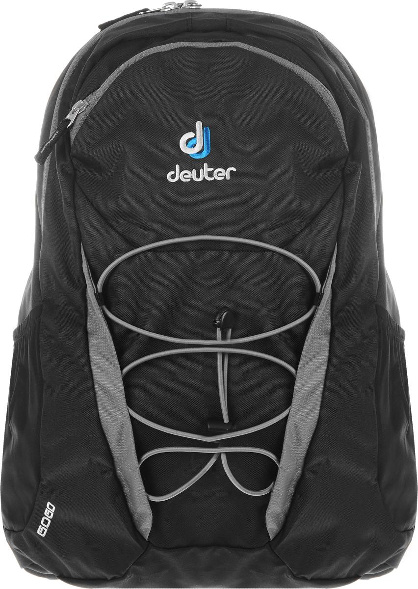 Рюкзак Deuter Go Go, цвет: черный, серый, 25 л3820016_7490Рюкзак Deuter Go Go сочетает в себе современный дизайн, функциональность и долговечность. Рюкзак выполнен из прочного текстильного материала и содержит одно вместительное отделение, закрывающееся на застежку-молнию с двумя бегунками. Внутри отделения находятся глубокий карман, стянутый сверху резинкой, и кармашек для мелочей на застежке-молнии. На лицевой стороне рюкзака расположен внешний карман, закрывающийся на застежку-молнию. Внутри него на текстильный ремешок крепится пластиковый карабин для ключей. Также лицевая сторона снабжена эластичной шнуровкой для крепления дополнительного снаряжения. По бокам рюкзака расположены два внешних сетчатых кармана, стянутых сверху резинками. Рюкзак дополнительно фиксируется на груди при помощи съемных регулируемых по длине текстильных ремней с пластиковым карабином. Конструкция ортопедической спинки рюкзака Airstripes System позволяет уменьшить нагрузку на спину.