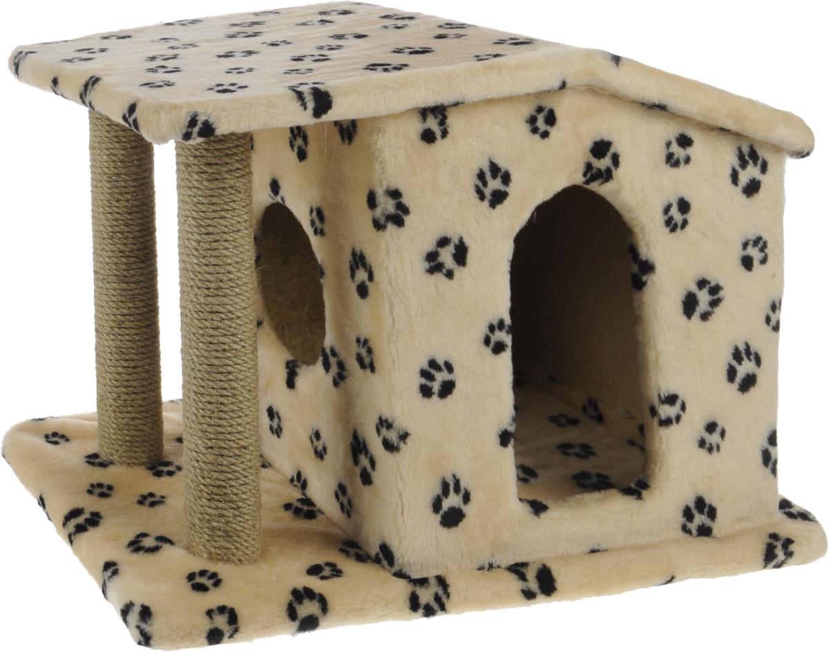 Игровой комплекс для кошек Меридиан Патриция, с домиком и когтеточкой, цвет: бежевый, черный, 63 х 40 х 41 смД376 Ла_бежевый, черные лапыИгровой комплекс для кошек Меридиан Патриция выполнен из высококачественного ДВП и ДСП и обтянут искусственным мехом. Изделие предназначено для кошек. Ваш домашний питомец будет с удовольствием точить когти о специальные столбики, изготовленные из джута. А отдохнуть он сможет в оригинальном домике.