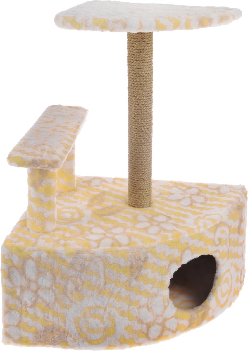 Игровой комплекс для кошек Меридиан, угловой, с домиком и когтеточкой, цвет: белый, оранжевый, бежевый, 58 х 48 х 79 смД421 Цв_белый, оранжевый, бежевыйИгровой комплекс для кошек Меридиан выполнен из высококачественного ДВП и ДСП и обтянут искусственным мехом. Изделие предназначено для кошек. Комплекс оснащен ступенькой. Ваш домашний питомец будет с удовольствием точить когти о специальный столбик, изготовленный из джута. А отдохнуть он сможет либо на полке, находящейся наверху столбика, либо в расположенном внизу домике. Общий размер: 58 х 48 х 79 см. Размер полки: 37 х 37 см. Высота ступеньки: 23 см. Размер домика: 58 х 48 х 28 см.