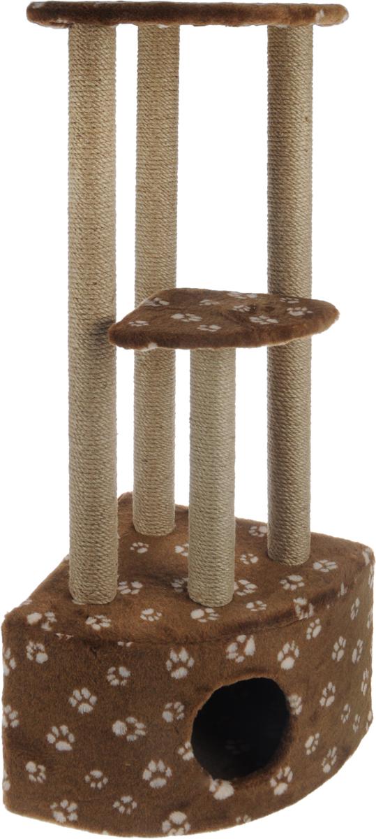Игровой комплекс для кошек Меридиан, 3-ярусный, угловой, с домиком и когтеточкой, цвет: темно-коричневый, бежевый, 42 х 42 х 110 смД436 Ла_темно-коричневый, бежевыйИгровой комплекс для кошек Меридиан выполнен из высококачественного ДВП и ДСП и обтянут искусственным мехом. Изделие предназначено для кошек. Комплекс имеет 3 яруса. Ваш домашний питомец будет с удовольствием точить когти о специальные столбики, изготовленные из джута. А отдохнуть он сможет либо на полках, либо в расположенном внизу домике. Общий размер: 42 х 42 х 110 см. Размер домика: 42 х 42 х 28 см. Размер большой полки: 35 х 35 см. Размер малой полки: 26 х 26 см.