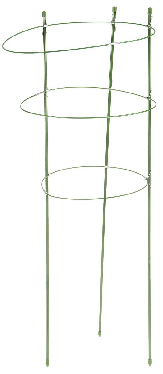 Опора для растений Listok, с 3 кольцами, высота 75 смLFS-3-75Опора Listok состоит из 3 колец и используется в качестве поддержки для садовых и комнатных растений. Благодаря ПВХ покрытию она не подвержена воздействию окружающей среды. За счет зеленого цвета опора не отвлекает на себя внимание от цветка или кустарника. Высота опоры: 75 см. Диаметр колец: 22 см; 26 см; 28 см.