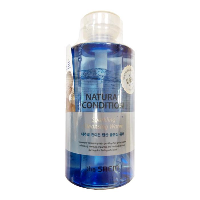 The Saem Мицеллярная вода Natural Condition Sparkling Cleansing Water, 500 млСМ2187Эффективное средство для мягкого очищения и интенсивного увлажнения кожи. Вода обладает противовоспалительным и антибактериальным действием, способствуют проникновению биологически активных веществ в кожу и снабжает клетки кислородом, усиливает защитные свойства кожи, уменьшает отеки. В воде НЕ содержатся искусственные красители и отдушки, бензофенон, парабены, продукты животного происхождения, минеральные масла и тальк. Объем: 300 мл