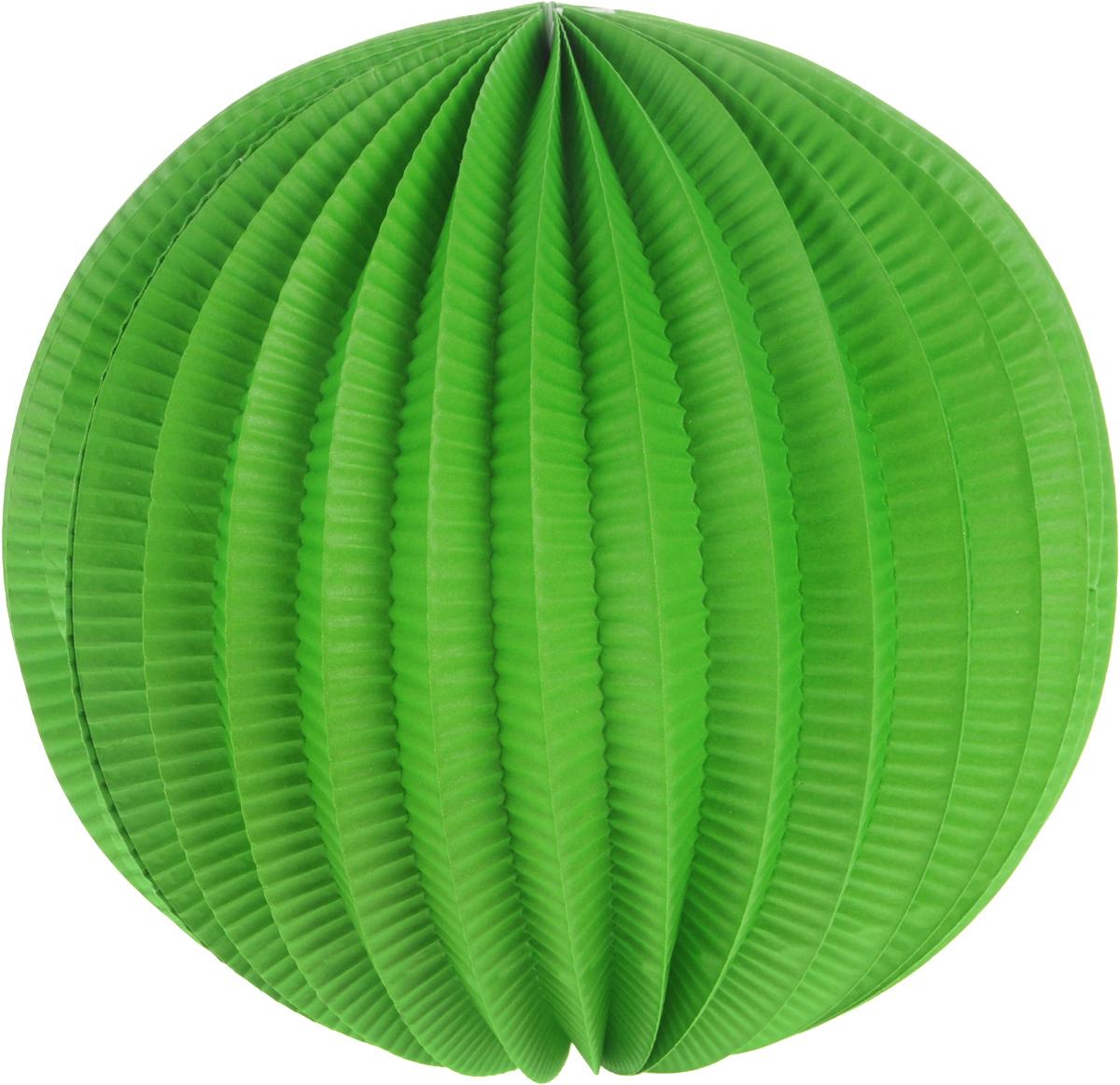 Фонарик бумажный Susy Card, цвет зеленый, диаметр 22 см11141967_зеленыйЯркий гофрированный бумажный фонарик Susy Card, выполненный в виде шара, оснащен металлическим креплением, благодаря которому изделие можно подвесить в любом удобном для вас месте. Фонарик Susy Card украсит интерьер любого помещения и предаст неповторимую атмосферу радости вашему торжеству. Диаметр фонарика: 22 см.