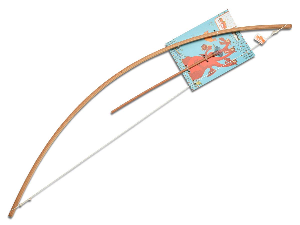 Три богатыря ЛукТБ-002Лук Три богатыря позволит почувствовать себя настоящим героем былинного эпоса, который отправляется на главное сражение со Змеем Горынычем или другим сказочным чудовищем. Рукоять лука выполнена из неокрашенного бука, благодаря чему он выглядит очень лаконично и естественно. В комплекте с игрушечным оружием также имеется одна буковая стрела с резиновым наконечником. Упражнение в одном из древнейших умений тренирует меткость, зоркость и координацию движений.