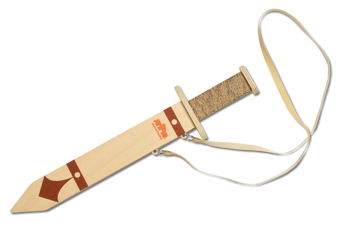 Три богатыря Меч богатырский в ножнахТБ-005Меч богатырский Три богатыря в ножнах поможет маленькому герою почувствовать себя настоящим воином. Рукоятка удобная и отлично держится, а крестовина выполнена очень основательно. На самом клинке имеется дол, как у настоящего меча. В комплекте ножны, которые можно вешать на пояс, чтобы меч был под рукой, а юный герой всегда наготове. Все элементы выполнены из качественных материалов, поэтому меч безопасен для детей.