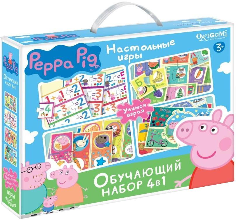 Оригами Обучающая игра 4 в 101973Обучающий набор «Свинка Пеппа» включает в себя четыре увлекательных настольных игры для развития вашего ребенка, тренировки мелкой моторики, ассоциативного ряда. А также обучение азбуке и счету. Все в одной коробке! Это прекрасный подарок маленькому непоседе, а родителям с пользой провести время с ребенком.