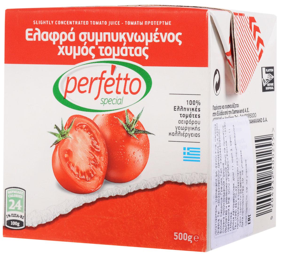 Perfetto special Томаты протертые в собственном соку, 500 г41.0004Протертые томаты Perfetto special в собственном соку - отличная основа для приготовления множества разноплановых блюд: мясных, рыбных, овощных, пасты.