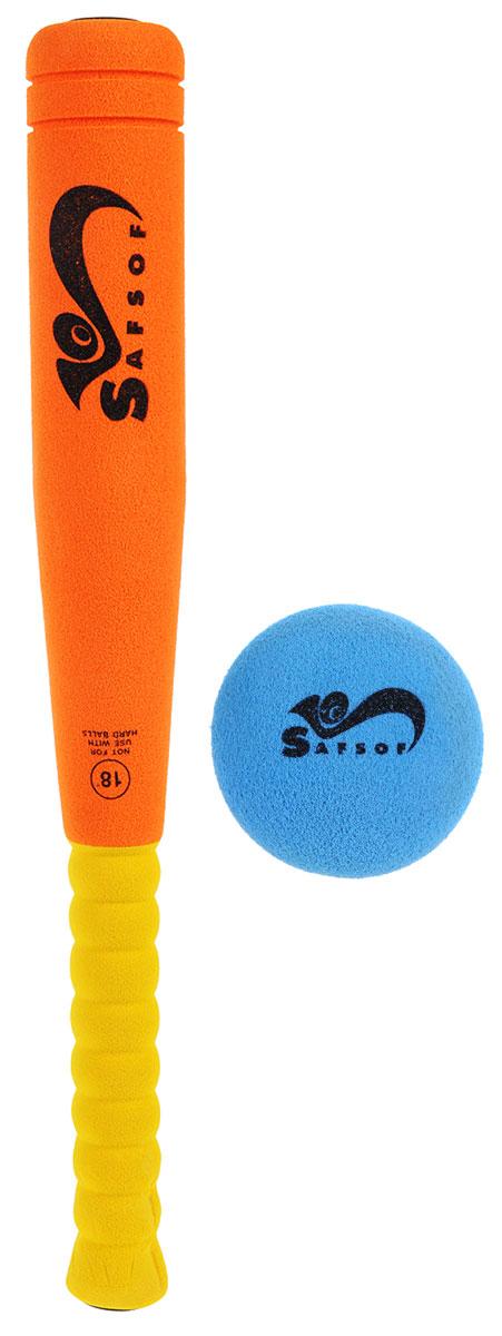 Safsof Игровой набор Бейсбольная бита и мяч цвет оранжевый желтый голубойBB-18(C)Игровой набор Safsof, изготовленный из вспененной резины, включает бейсбольную биту и мяч. Такой набор непременно пригодится вам, если вы собрались приобщиться к такой увлекательной игре, как бейсбол. Сегодня профессиональный бейсбол привлекает на стадионы миллионы зрителей и развлекает миллионы людей, которые слушают или смотрят трансляции по радио и телевидению. Благодаря яркой расцветке и легкому мягкому материалу, игра в бейсбол будет не только интересной, но и безопасной. Такой набор станет отличным подарком для маленького спортсмена и будет незаменим на летнем отдыхе.
