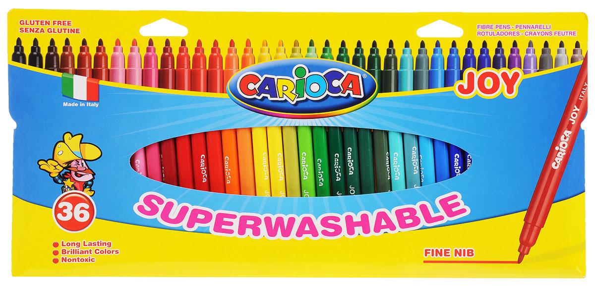 Carioca Набор фломастеров Joy 36 цветовC05434_40556Фломастеры Carioca Joy, предназначенные для художественно-оформительских работ, обязательно порадуют вашего юного художника и помогут создать ему неповторимые и яркие картинки. Набор включает в себя 36 фломастеров ярких насыщенных цветов. Специальные чернила на водной основе легко смываются с кожи и удаляются с большинства тканей.