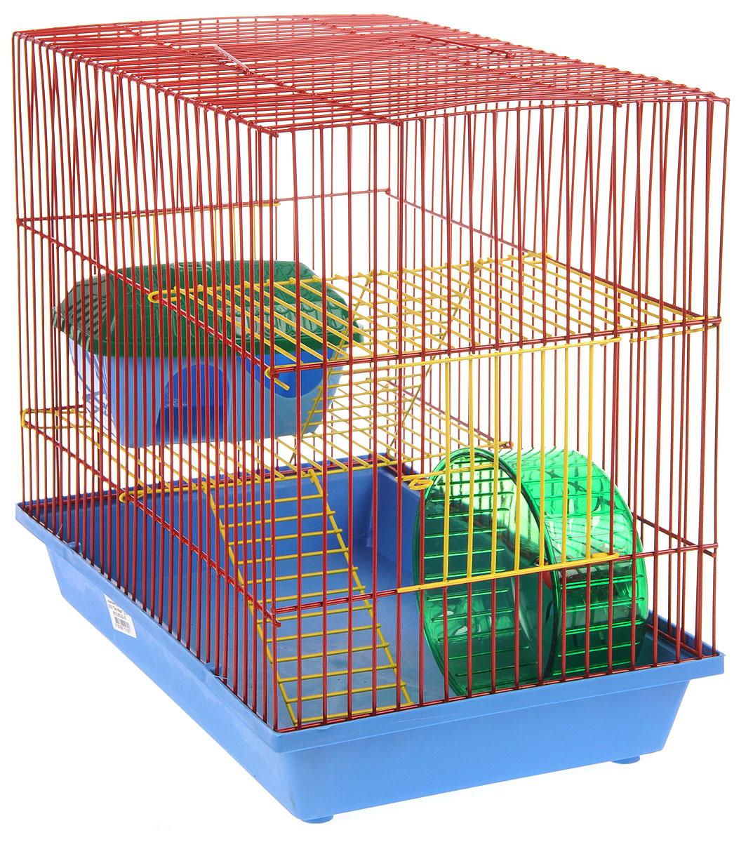 Клетка для грызунов ЗооМарк, 3-этажная, цвет: синий поддон, красная решетка, желтые этажи, 36 х 23 х 34,5 см. 135ж135жСККлетка ЗооМарк, выполненная из полипропилена и металла, подходит для мелких грызунов. Изделие трехэтажное, оборудовано колесом для подвижных игр и пластиковым домиком. Клетка имеет яркий поддон, удобна в использовании и легко чистится. Сверху имеется ручка для переноски. Такая клетка станет уединенным личным пространством и уютным домиком для маленького грызуна.
