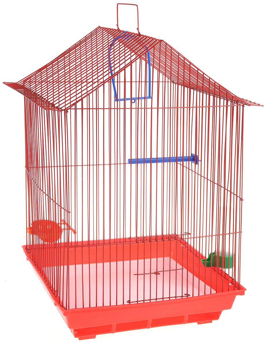 Клетка для птиц ЗооМарк, цвет: красный поддон, красная решетка, 34 x 28 х 54 см430КККлетка ЗооМарк, выполненная из полипропилена и металла с эмалированным покрытием, предназначена для мелких птиц. Изделие состоит из большого поддона и решетки. Клетка снабжена металлической дверцей. Клетка удобна в использовании и легко чистится. Она оснащена кольцом для птицы, поилкой, кормушкой и подвижной ручкой для удобной переноски.