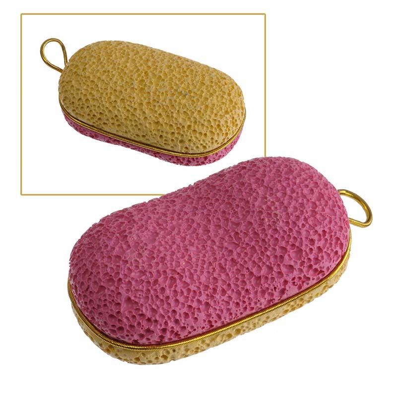 Zinger Пемза педикюрная двухсторонняя из искусственного камня zo-PB-07, цвет: желтый, розовый
