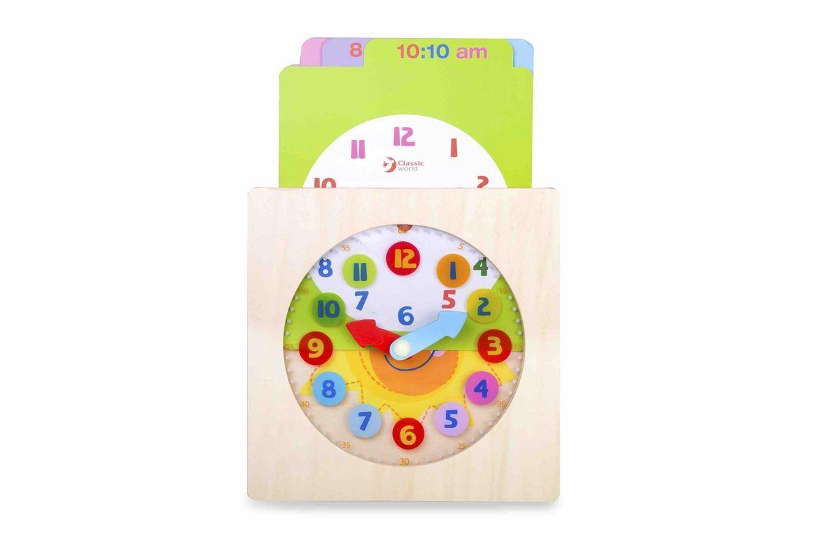 Classic World Конструктор-часы Распорядок дня Мишки3571С самого раннего детства очень важно заложить в ребёнке основные базовые привычки и научить планировать своё время. Благодаря уникальному игровому набору ребёнок в простой и занятной форме познакомится с понятием распорядок дня и научится правильно и с пользой распоряжаться своим временем. В набор включены 5 двухсторонних красочных и занимательных игровых карт, на которых изображён очаровательный медвежонок, он знакомит ребёнка с занятиями на день - сон, завтрак, досуг и прочее - с одной стороны, и представлены разнообразные варианты времени - с другой стороны. Ребёнок сможет придумать интересные рассказы о своём распорядке дня, что прекрасно способствует развитию речи и творческого мышления, а также изучить часы и время. Игрушка выполнена из высококачественных материалов и окрашена безопасными детскими красками.