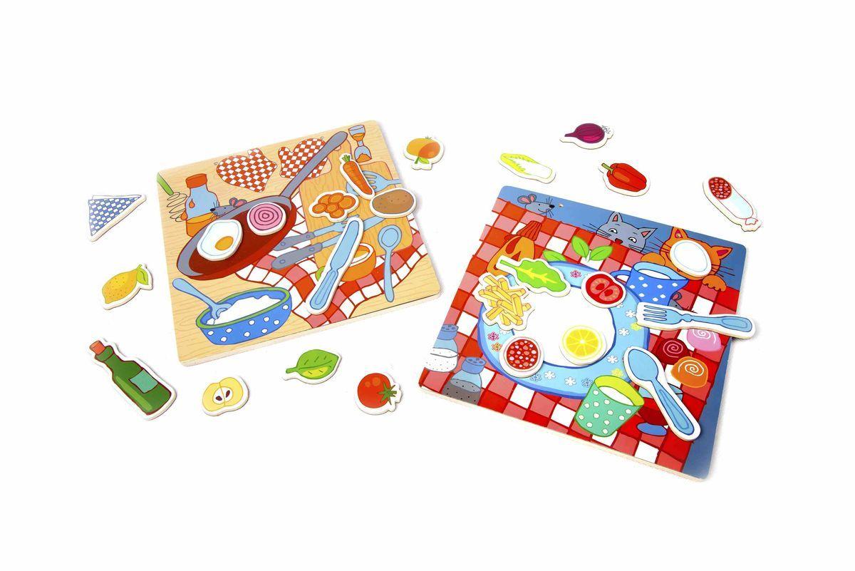 Classic World Развивающая магнитная игра Котик и бутербродик3578Играй и развивайся! Удивительная магнитная игра познакомит ребёнка с разнообразными фруктами и овощами, а также с удивительными блюдами, который ребёнок сможет придумать сам. В игре разнообразные элементы для блюд, которые легко и просто прикрепляются к игровому полю, благодаря магнитам - овощи (помидоры, перцы и другое), фрукты (апельсин, лимон и другое), кухонные элементы. Благодаря множеству деталей вы разовьете в ребенке: мелкую моторику, внимание и логику. А возможность составлять истории про котика - прекрасно разовьет речь. Ребёнок сможет создать свою первую книгу рецептов, а став постарше с помощью родителей обязательно реализовать свои идеи на настоящей кухне. Игрушка выполнена из высококачественных материалов, а значит вы будете уверены в безопасности вашего ребёнка.