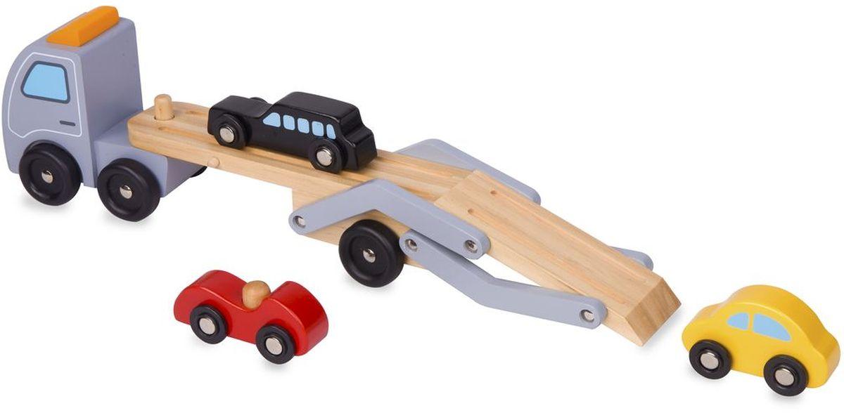 Classic World Игрушка-каталка Автовоз3591Игрушка выполнена в виде яркого автовоза с оригинальным дизайном, что непременно привлечет внимание малыша. Автовоз можно катать, а также при помощи входящих в комплект трех дополнительных мини-машинок еще и моделировать различные игровые ситуации. Автовоз выполнен из соснового массива дерева, приятного на ощупь, и окрашен безопасными детскими красками. Катая игрушку, дети развивают координацию движения, равновесие и укрепляют мышцы. А придумывая различные игровые сюжеты, у деток улучшается воображение, фантазия и мелкая моторика. Прицеп принимает два положения: для перевозки машин и для загрузки и веселого скатывания.