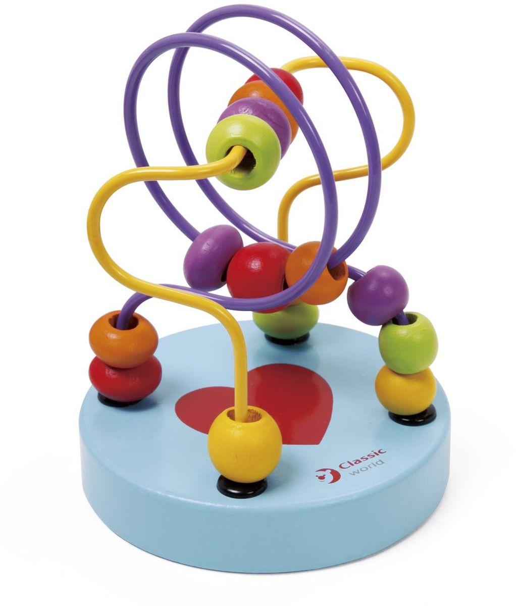 Classic World Сортер-лабиринт Бусины и горки3647Проведи бусинки по хитросплетённым лабиринтам! Разнообразные бусинки познакомят ребёнка в простой и занятной игровой форме с базовыми цветами. Игра прекрасно способствует развитию логики, мышления и мелкой моторики. Игрушка удобна тем, что ее можно брать в дорогу и на прогулки. Игрушка выполнена из высококачественных материалов, а значит вы будете уверены в безопасности вашего ребёнка. Уважаемые клиенты! Обращаем ваше внимание, что цвет бусин и горок может меняться, в зависимости от прихода товара на склад