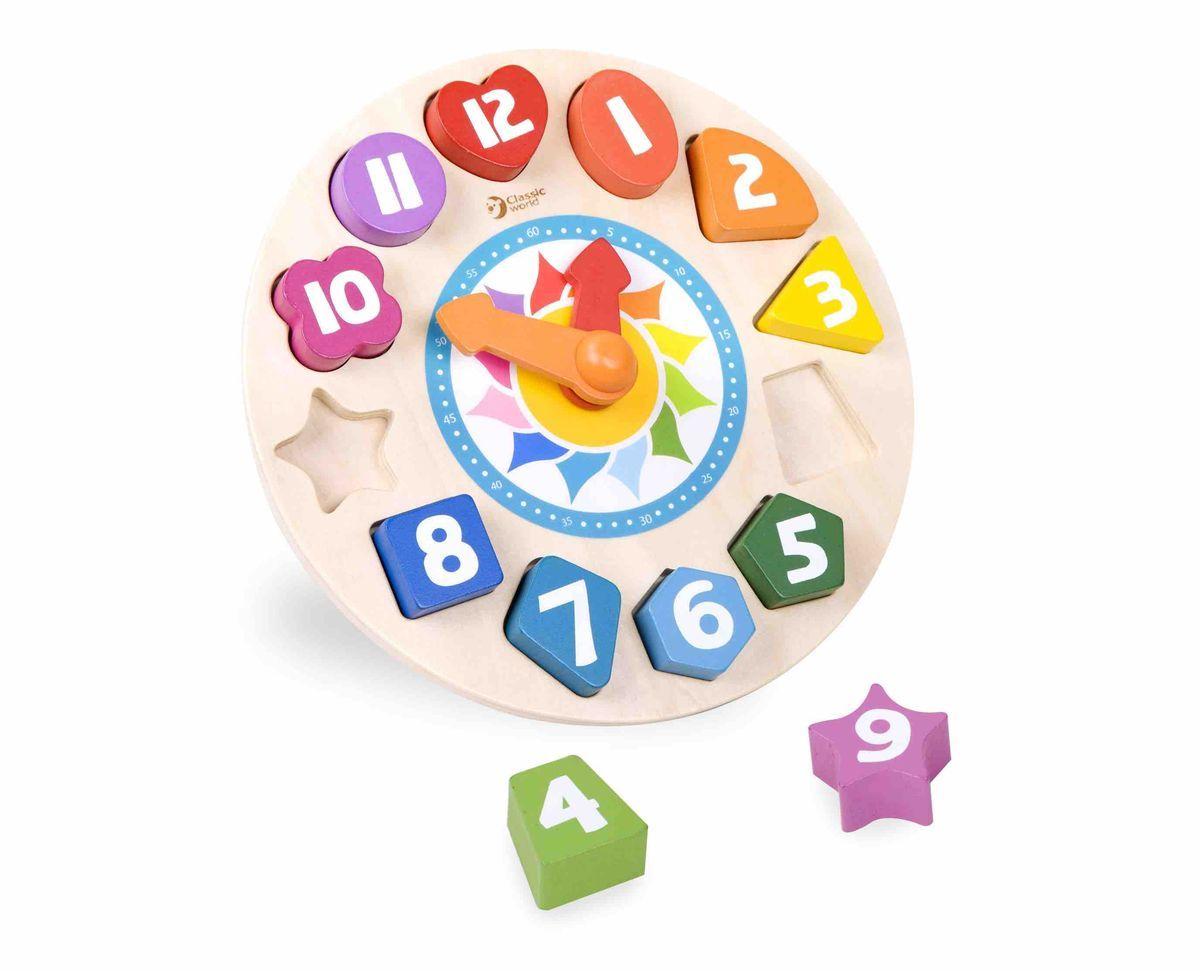 Classic World Конструктор-сортер Часы Тик-Так3655Занимательный сортер-конструктор Часы Тик-Так поможет ребенку познакомиться с понятием времени и станет основой для многочисленных развивающих игр. Необходимость разложить элементы по силуэтам даст возможность познакомится ребенку с разнообразными фигурами. Ни одна форма не повторяется! В простой и занятной игровой форме ребёнок сможет изучить часы и минуты и получит своё первое представление о времени. Игровые элементы мультифункционального центра великолепно подойдут и для первого знакомства с цифрами от 1 до 12, а также с цветом, ведь каждый элемент не только разного цвета, но и оттенка. Благодаря великолепной игре, соблюдение режима дня станет нескучным занятием для детей постарше, ведь такое захватывающее действие как расстановка времени согласно расписанию понравится каждому ребёнку. Игрушка выполнена из высококачественных материалов и окрашена безопасными детскими красками.
