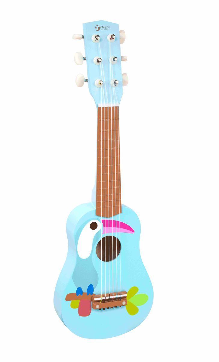 Classic World Гитара Тукан4027Настоящая гитара с 6-ю струнами и с возможностью настройки по тонам. Совсем как настоящий инструмент! Стильная и яркая гитара с изображением милого и такого неповторимого тукана - необычной птицы с удивительным клювом - подарит ребёнку массу положительных эмоций и откроет загадочный мир музыки. Ребёнок сможет придумывать самостоятельно захватывающие музыкальные композиции, что прекрасно способствует развитию творческого мышления. Игра на музыкальных инструментах прекрасно развивает музыкальный интеллект, чувство такта и ритма. Оптимальный размер гитары идеально подойдёт для малышей и детей постарше. Игрушка выполнена из высококачественных материалов, а значит вы будете уверены в безопасности вашего ребёнка.