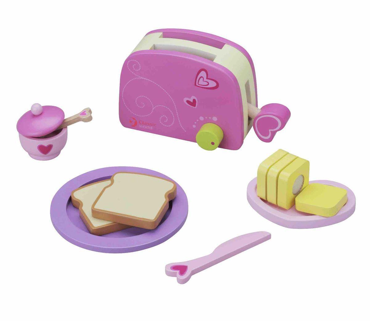 Classic World Игровой набор Тостер4115Маленький поваренок придет в восторг от необычной и яркой игрушки!В комплекте: тостер, тосты, масло, тарелочка, ножик, йогурт. Ребёнок сможет придумать различные вариации завтрака, что прекрасно способствует развитию творческого мышления. Скучать точно не придётся! Приготовьте вкусные тосты с маслом, и подайте их красиво на стильной тарелочке с приборами. Такая игра прекрасно скажется на эстетическом воспитание ребёнка. Сюжетно-ролевые игры великолепно развивают коммуникативные навыки ребёнка, а в процессе игры ребёнок сможет пополнить свой словарный запас. Игрушка выполнена из высококачественных материалов, а значит вы будете уверены в безопасности вашего ребёнка.