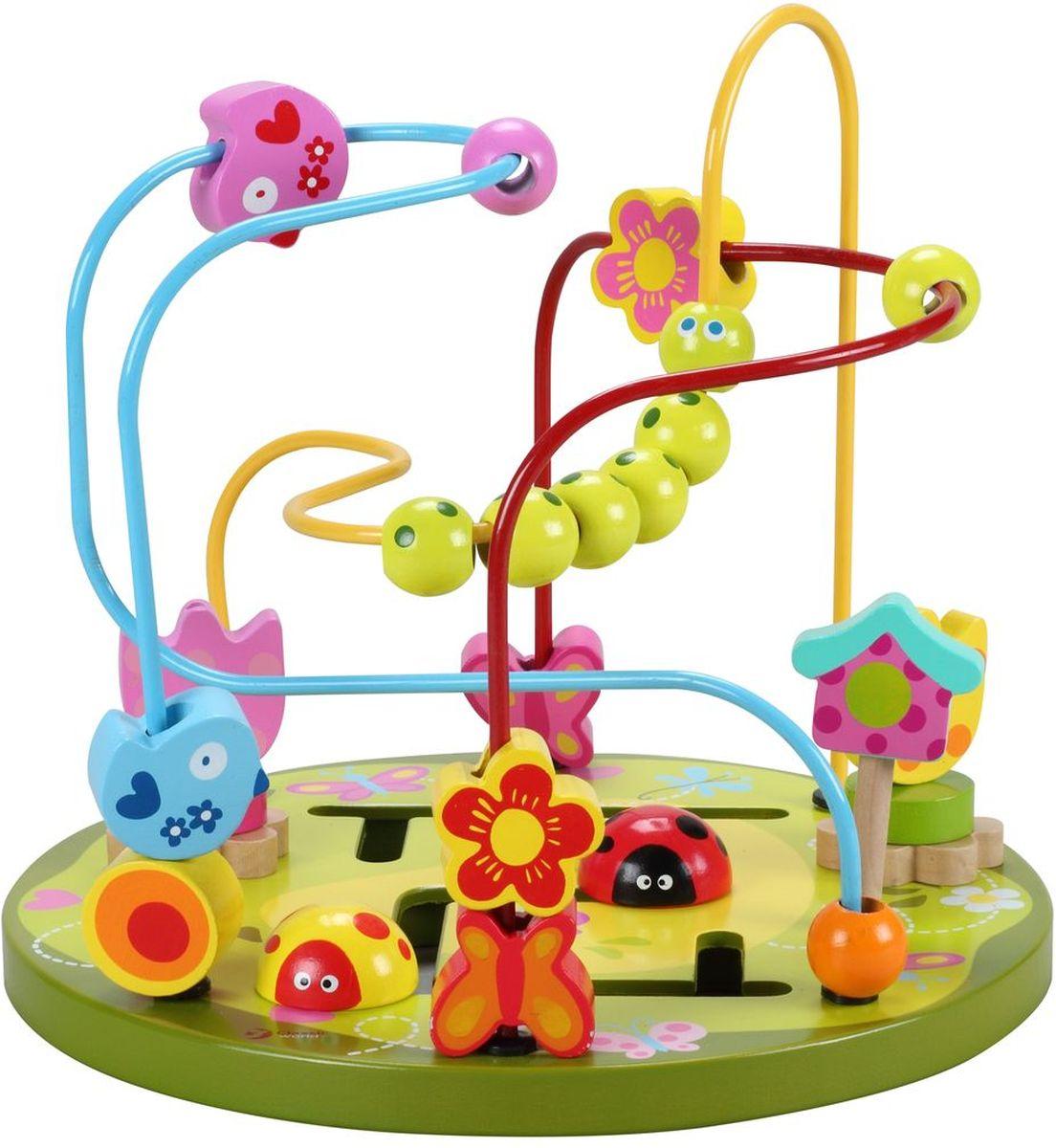 Classic World Сортер-лабиринт Цветочные горки4122Красивая игрушка с яркими фигурками и элементами надолго привлекает внимание детей. Детям нравится перекатывать бусины и фигуры по изогнутым в разных плоскостях проволокам. Во время игры ребенок учится анализировать: как сделать так, чтобы фигурка с одного конца лабиринта переместилась на другой, чтобы нанизанные на проволоку детали не столкнулись между собой. Перекатывая фигурки по проволоке, ребенок развивает пространственное мышление и мелкую моторику. А яркая расцветка игрушки будет способствовать развитию зрения и цветовосприятия малыша. Элементы конструктора помогают развить логику, выучить формы и цвета.