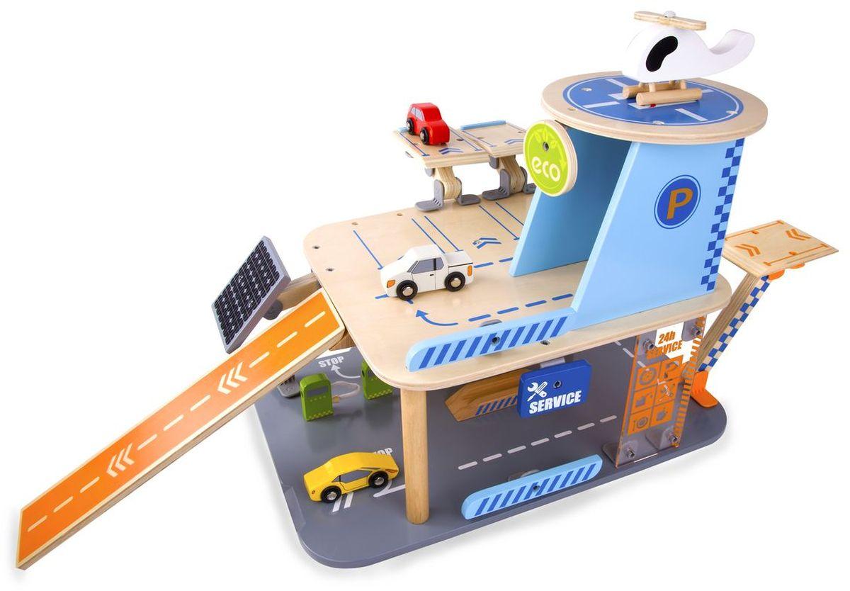 Classic World Парковка Создай свой собственный гараж4148Игрушка является полноценной игровой площадкой, позволяющей воссоздавать ситуации из различных областей работы современных гаражей. Кроме того, ребенок может устраивать настоящие гонки и погони – крутые спуски с каждого уровня парковки способны придать машинке хорошее ускорение. Подобные игровые площадки создают идеальные условия для различных игровых ситуаций как для одного ребенка, так и для нескольких детей. Все это способствует социализации ребенка, активизирует его фантазию и воображение, а также учит правильно организовывать пространство. Элементы конструктора выполнены из натурального дерева и окрашены безопасными детскими красками.