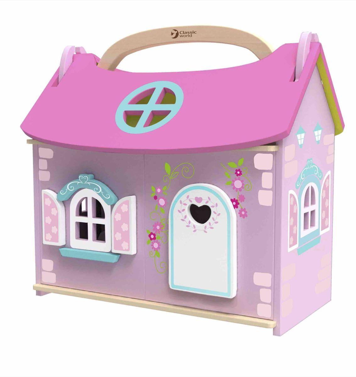 Classic World Домик-чемодан с мебелью и куклой Домик маленькой принцессы4156Сказочный мир ожидает вашу маленькую принцессу! Удобный переносной домик с ручкой с хозяйкой-принцессой, полностью обставлен стильной мебелью. В комплекте: домик с ручкой, крыша съёмная. Куколка и 10 предметов мебели (шкаф, кровать, 2 тумбочки и лампа, кресло, стол и стул, зеркало с раковиной и ванна). Ребёнок сможет придумать удивительные истории о жизни маленькой хозяйки особняка, что прекрасно способствует развитию творческого мышления. Сюжетно-ролевые игры великолепно развивают коммуникативные навыки ребёнка, а в процессе игры ребёнок сможет пополнить свой словарный запас. Игрушка выполнена из высококачественных материалов, а значит вы будете уверены в безопасности вашего ребёнка.