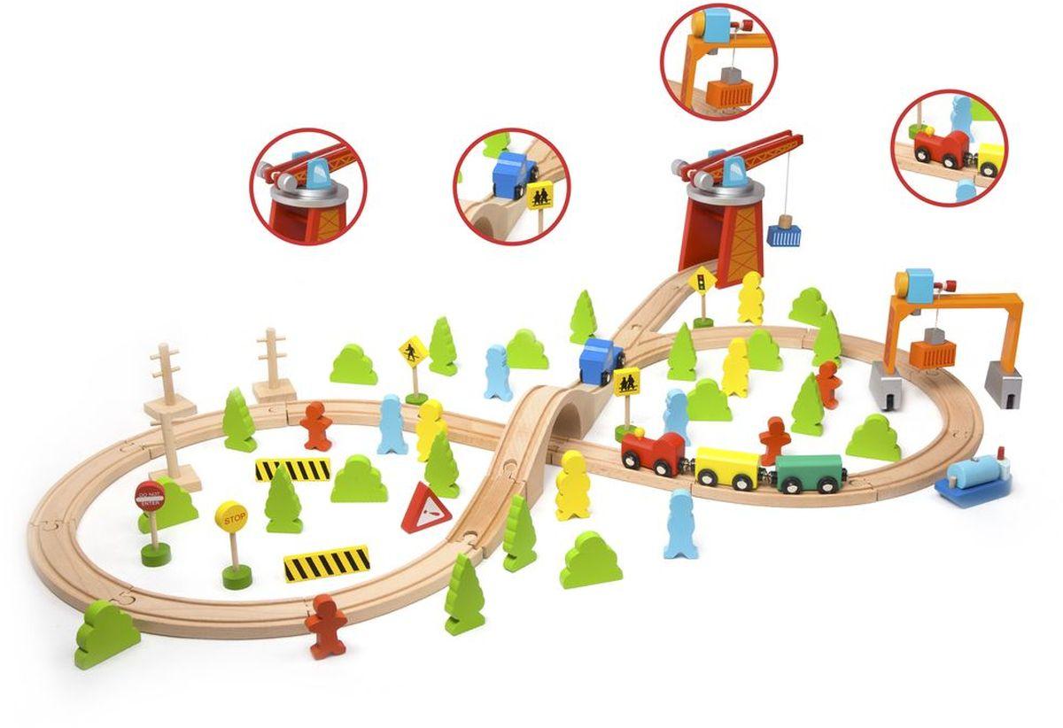 Classic World Железная дорога4163Постройте железную дорогу прямо у себя в комнате! Красивый сюжетный конструктор из натурального дерева, окрашен безопасными детскими красками в яркие насыщенные цвета. Высокое качество обработки дерева, гладкие детали, приятные на ощупь. В комплекте различные аксессуары для игры: строительный кран с подъемным механизмом и магнитом, с его помощью можно загружать в вагоны контейнеры, ремонтное депо, линии электропередач, строительная техника и много другое. Всего в наборе 75 деталей. Такая насыщенная игра превосходно развивает воображение, координацию движений, зрительную координацию, логику, память и внимание.