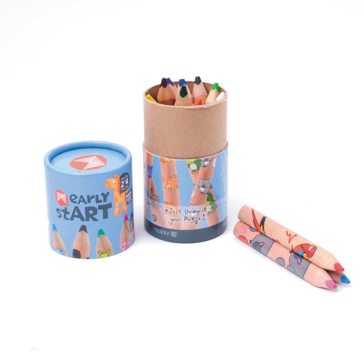 Micador Цветные карандаши 12 цветовESJP12Многообразие ярких и насыщенных цветов, которые не оставят равнодушным ни одного ребенка. Благодаря высокому качеству древесной оболочки, обеспечивается ровное и гладкое затачивание что исключает покупать все новые и новые карандаши. Грифель имеет больший диаметр, чем обычно, что позволит не так часто затачивать карандаши, а так же позволяет намного быстрее и без дополнительных усилий разукрашивать большие рисунки. Карандаши не крошатся при рисовании, не трескаются при падении, легко затачиваются. Очень прочные треугольные карандаши специально для маленьких ручек, чтобы малыши учились правильно держать. Высококачественные пигменты обеспечивают яркость и мягкость письма на любой бумаге. Карандаши упакованы в коробочку цилиндрической формы, в которой их очень удобно брать с собой и рисовать, где захочется.