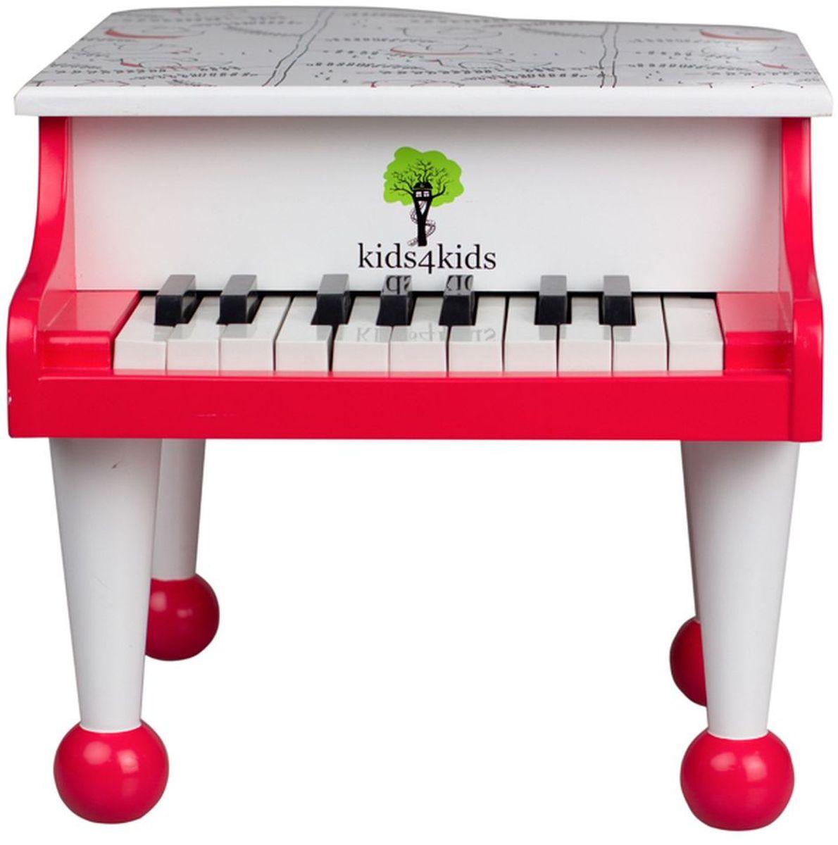 Kids4Kids Музыкальная игрушка Рояль Волшебные нотыHY20003Замечательный рояль Волшебные ноты станет для ребенка первым музыкальным инструментом, с которым он сделает первые шаги в музыке. Яркий рояль непременно вызовет интерес малыша к занятию музыкой. Игрушка способствует развитию умственных способностей, мелкой моторики и формирует чувство прекрасного. Рояль имеет 18 клавиш и 1,5 октавы. Этого достаточно для знакомства с нотами и чтобы малыш разучил несколько простых детских песенок. Игрушка изготовлена из высококачественных натуральных материалов.