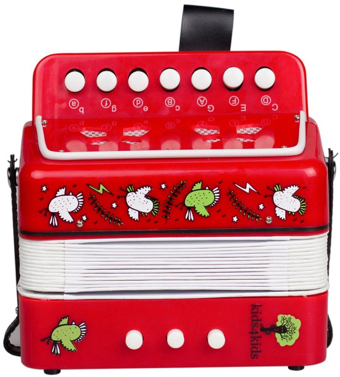 Kids4Kids Музыкальная игрушка Аккордеон Волшебные нотыHY20006Учимся весело исполнять зажигательные мелодии в компании великолепного и занимательного аккордеона. Ребёнок сможет не только самостоятельно придумать и исполнить музыкальные композиции, а также продемонстрировать целый музыкально-танцевальный номер, ведь под фантастические музыкальные композиции просто невозможно устоять на месте, а значит будет прекрасно развито творческое мышление и координация движений. Игра на аккордеоне способствует развитию мелкой моторики. Яркий стиль аккордеона не оставит равнодушным ребёнка, а значит скучно точно не будет. Игрушка изготовлена из высококачественных материалов.