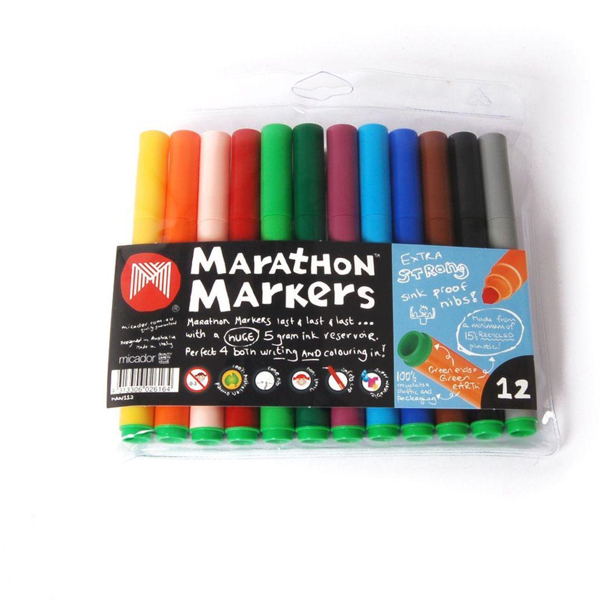 Micador Долговечные фломастеры 12 цветовMAW112Фломастеры наполнены экологически чистыми чернилами нового поколения, которые пишут особенно долго, не расплываются на бумаге, что позволяет делать четкие линии. Яркие насыщенные цвета для создания красивых рисунков. Изготовлены по запатентованной технологии Easy Wash. Смываются с кожи даже холодной? водой? и очень легко отстирываются, что обязательно оценят родители. Фломастеры имеют утолщенный корпус, разработанный специально для маленьких ручек, чтобы малышам было удобно рисовать. Долговечные, не высыхают с открытым колпачком до 8 недель, при необходимости заправляются водой, а это значит, что вам не придется покупать все новые и новые фломастеры. Экологичная, 100% перерабатываемая упаковка. Рисование - лучшее занятие для развития творческих и умственных способностей ребенка. Австралийский бренд Micador - эксперт в товарах для детского творчества с 1954 года.