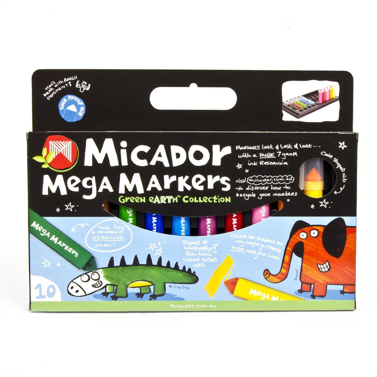Micador Безопасные фломастеры увеличенного объема 10 цветовMMAMG10Фломастеры Micador на водной основе, экологичные, не содержат спирт, растворителей, токсичных веществ, полностью безопасны для маленьких детей. Увеличенный резервуар для чернил делает фломастеры долговечными, каждый фломастер содержит 8 мл чернил, что в 4 раза больше обычных фломастеров. Стержень конической формы позволяет делать и широкие, и тонкие линии. Вентилируемый колпачок предотвращает высыхание чернил. Сухие фломастеры легко можно восстановить, всего лишь опустив наконечник в воду. Широкий корпус делает фломастеры удобными для маленьких детских ладошек. Изготовлены по запатентованной технологии Easy Wash: легко отстирываются от любой поверхности даже в холодной воде. Экологичная, 100% перерабатываемая упаковка. Изготовлены с использованием солнечной энергии и с заботой об окружающей среде. Австралийский бренд Micador - эксперт в товарах для детского творчества с 1954 года.