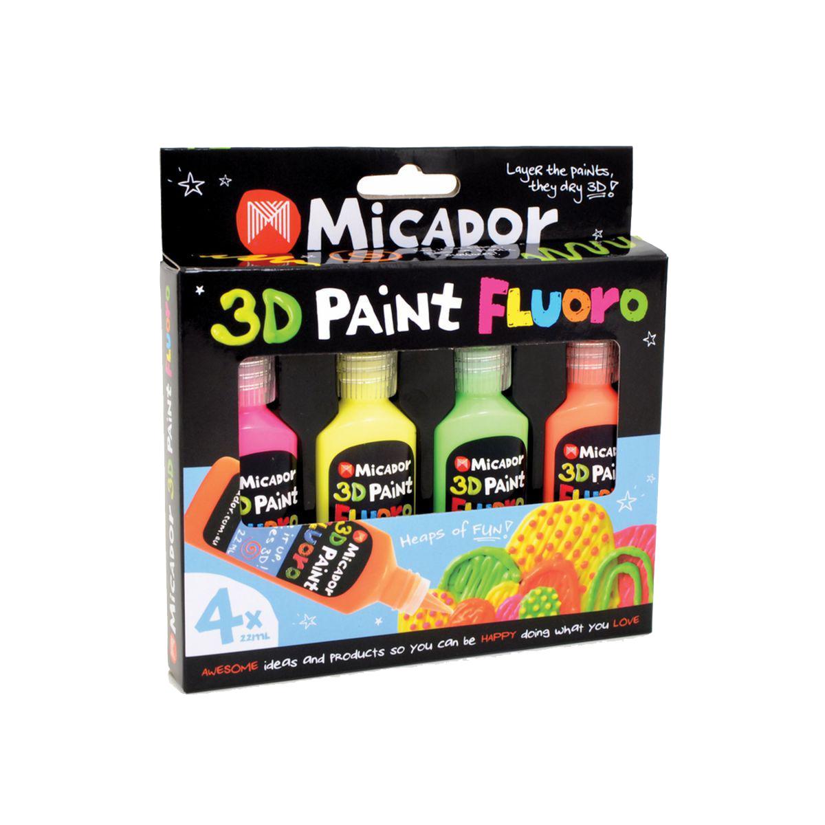 Micador Флуоресцентные 3D краски 4 цвета
