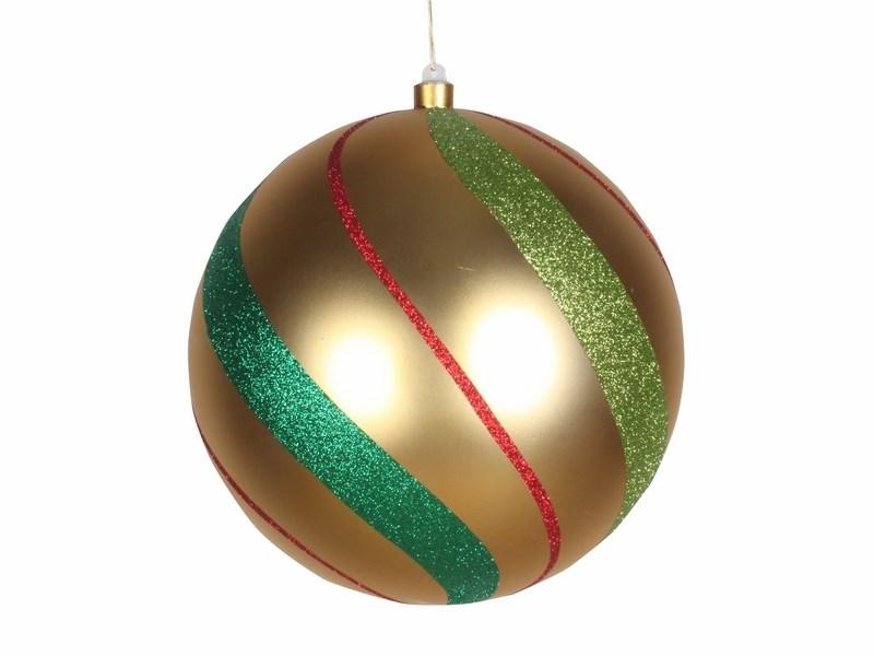 Украшение новогоднее подвесное Neon-Night Шар в полоску, цвет; золотой, зеленый, красный, 25 см502-266Елочная фигура Шар в полоску, 25 см, из пластика, цвет золотой матовый, полоски мульти