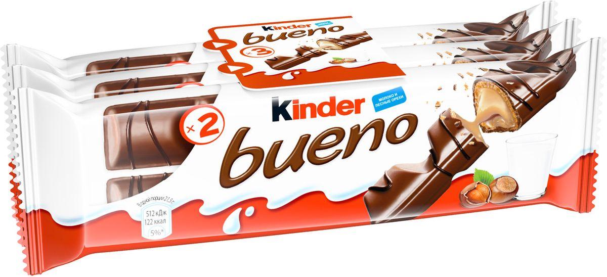 Kinder Bueno вафли в молочном шоколаде с молочно-ореховой начинкой, 3 шт по 43 г