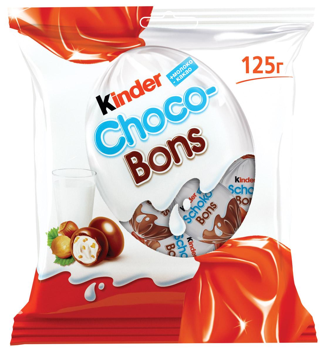 Kinder Choco Bons конфеты из молочного шоколада с молочно-ореховой начинкой, 125 г77121210/77111751/77096053Нежная молочная начинка, кусочки лесных орехов и неповторимый вкус шоколада. Kinder Choco-Bons производится на одной из фабрик компании Ферреро в Бельгии, славящейся своими шоколадными традициями. Удобные пакетики разных размеров (46 г и 125 г) подойдут и для скромной, и для большой компании! Конфетки в индивидуальной упаковке удобно брать с собой. Дома, в школе, на прогулке – наслаждайтесь сами, радуйте друзей и близких каждый день!