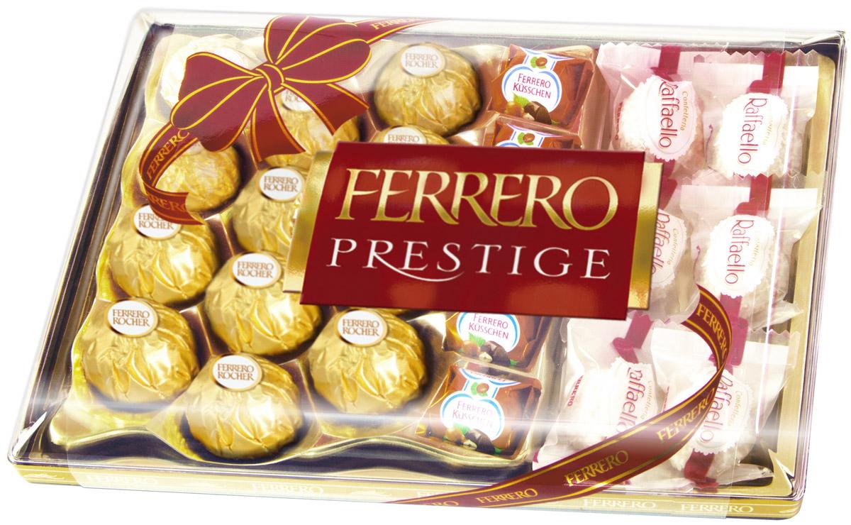 Ferrero Prestige набор конфет: Ferrero Rocher, Raffaello, Ferrero Kusschen, 254 г77119025/77085646/77099221Ferrero Prestige – это коллекция лучших конфет компании Ferrero. Ferrero Rocher, Raffaello, Ferrero Kusschen: с кокосовой стружкой, с кремовыми наполнителями, с орехами, с фруктами, с шоколадной глазурью. Собранные все вместе в элегантной пластиковой упаковке, эти конфеты станут идеальным подарком для людей, которые ценят качество и разнообразие вкусов.
