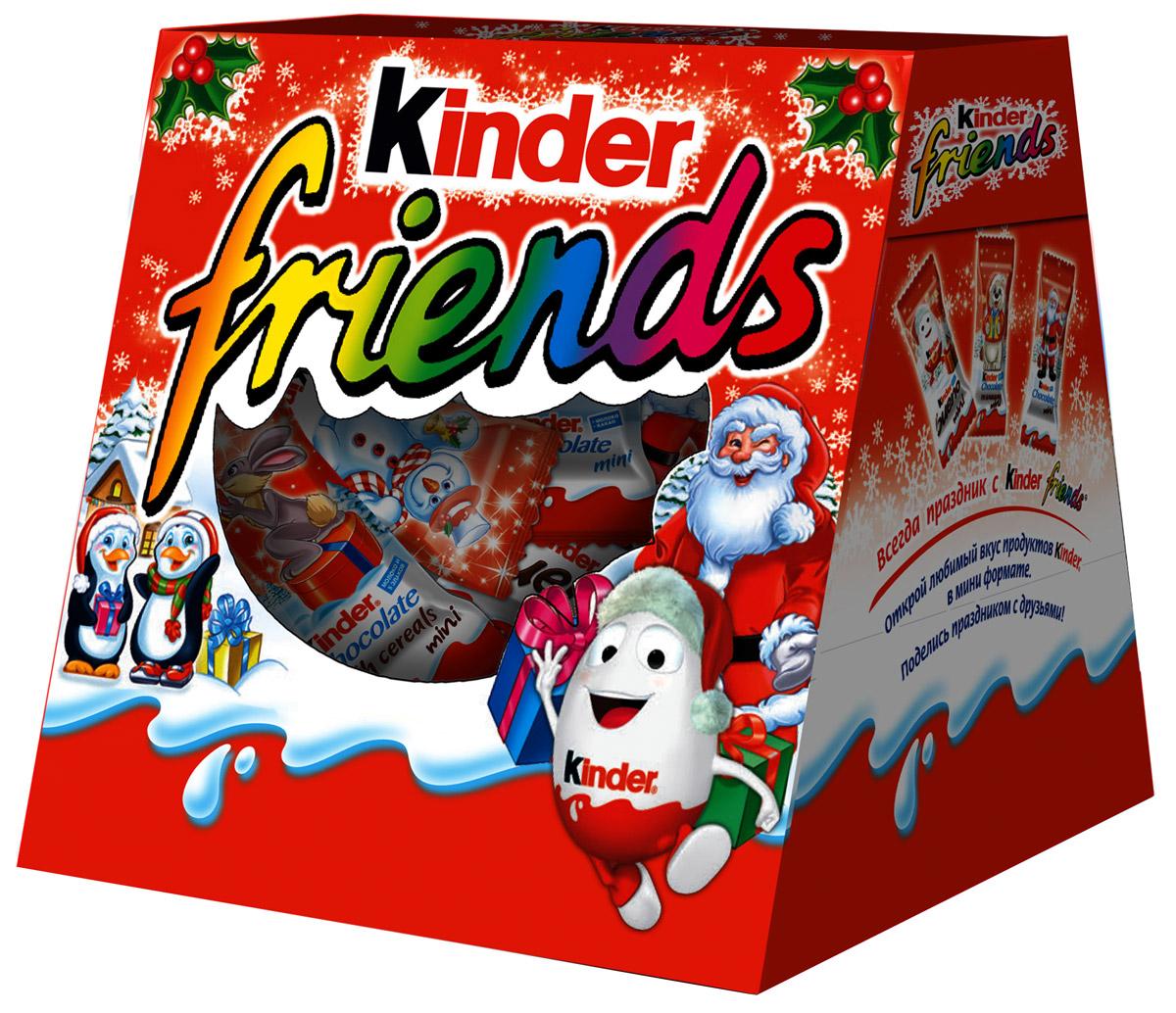 Kinder Friends набор: Kinder Chocolate со злаками, Kinder Chocolate mini, Kinder Bueno mini, Kinder Choco-Bons, 152 г77123838Встречайте Новый Год вместе с Kinder! В этом году Kinder приготовил для Вас множество новогодних подарков!