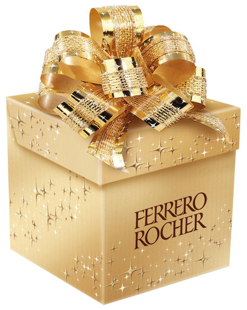 Ferrero Rocher конфеты хрустящие из молочного шоколада, покрытые измельченными орешками, с начинкой из крема и лесного ореха, 75 г