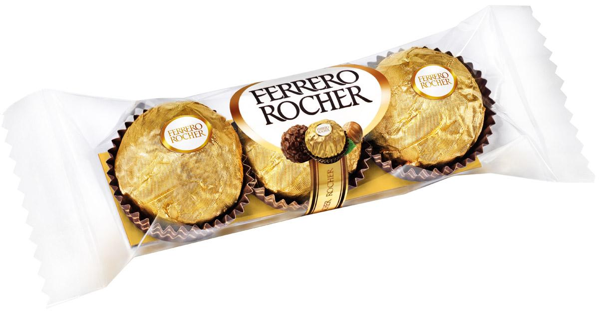Ferrero Rocher конфеты хрустящие из молочного шоколада, покрытые измельченными орешками, с начинкой из крема и лесного ореха, 37,5г