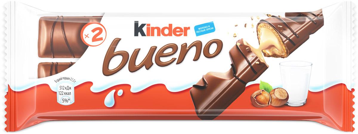 Kinder Bueno вафли в молочном шоколаде с молочно-ореховой начинкой, 43 г