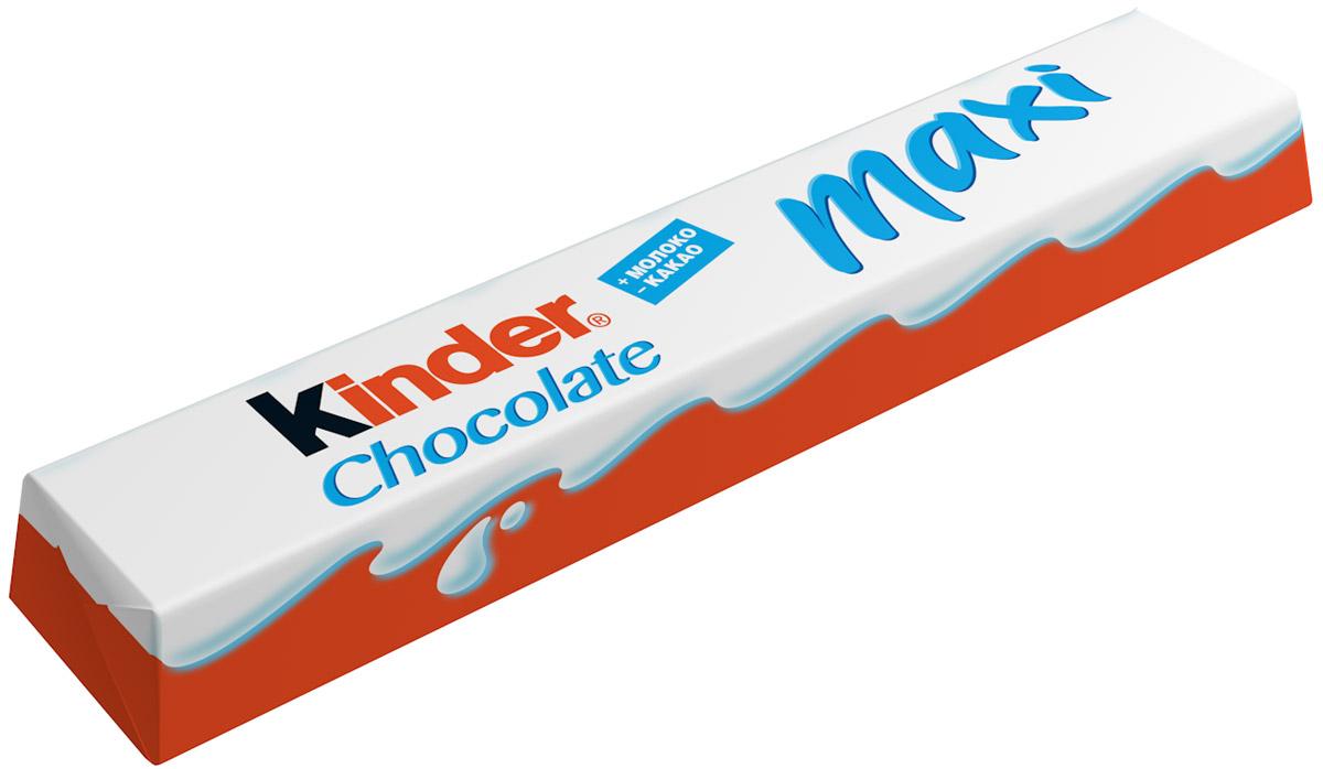 Kinder Chocolate Maxi шоколадный батончик молочный, 36 шт по 21 г