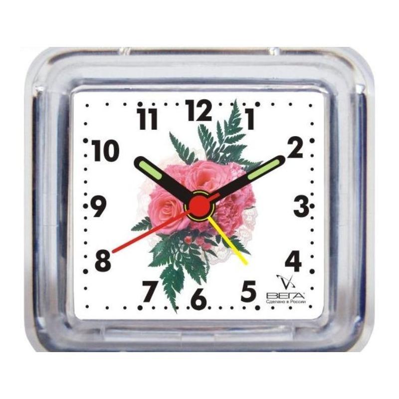 Будильник Вега Розовый цветокБ1-004