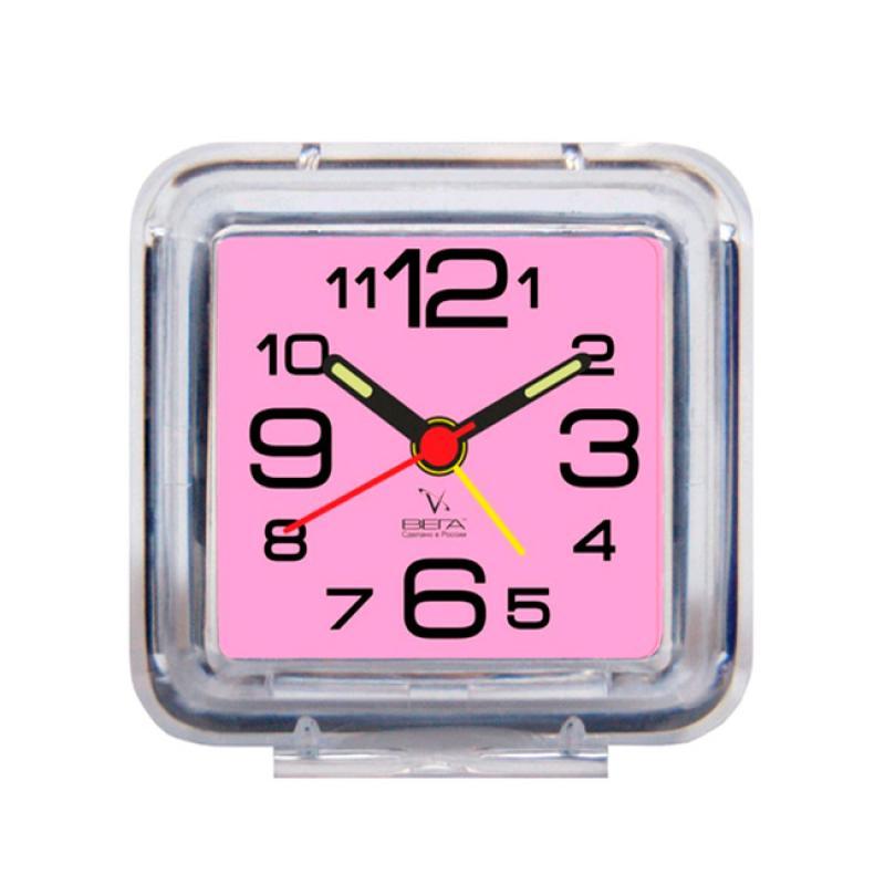 Будильник Вега, цвет: розовыйБ1-056(роз)